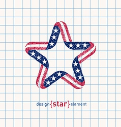 hand draw star with american flag colors and vector image vector image
