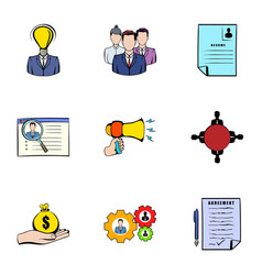 interview icons set cartoon style vector image vector image