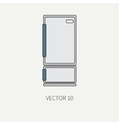 Line color kitchenware icons - refrigerator vector image