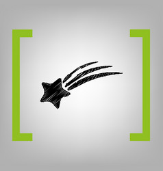 shooting star sign black scribble icon in vector image
