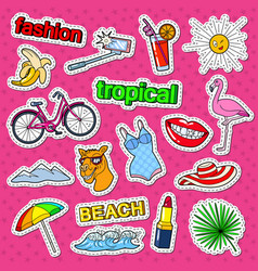 tropical beach vacation doodle with flamingo vector image vector image