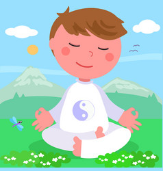 boy in meditation pose vector image vector image