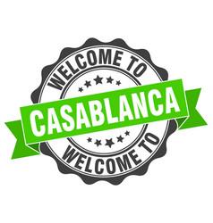 casablanca round ribbon seal vector image vector image