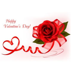 red rose with gift red ribbons vector image vector image