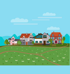 summer rural landscape background vector image