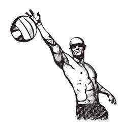 beach volley plaer vector image vector image