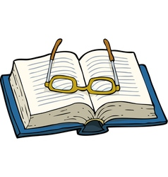 book with glasses vector image