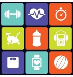 Fitness icons square vector image vector image