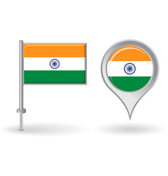 Indian pin icon and map pointer flag vector