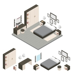 Isometric Create A Bedroom Icon Set vector image vector image