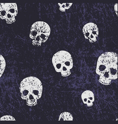 seamless halloween pattern with skulls grunge vector image vector image