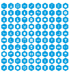 100 wellness icons set blue vector
