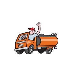 4 wheeler tanker truck driver waving cartoon vector
