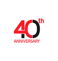 40 years anniversary logotype with black and red vector