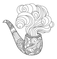abstract smoking pipe coloring book vector image