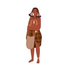 African tribal woman with braids holding bag vector