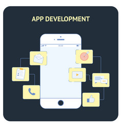App development flat social media banner vector