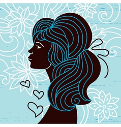 beautiful woman silhouette profile vector image