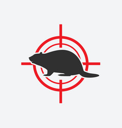 beaver silhouette animal pest icon red target vector image