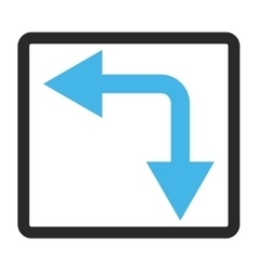 Bifurcation Arrow Left Down Framed Icon vector