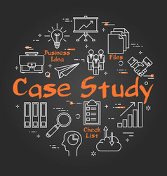 Black round case study concept on black chalkboard vector
