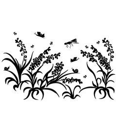 Black silhouette insect grass vector