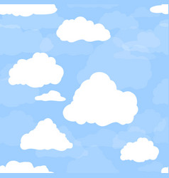 Blue sky with white clouds hand drawn seamless vector
