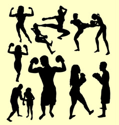Boxing and fight silhouette vector