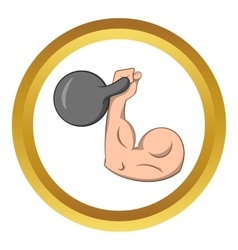 Brawny arm with dumbbell icon vector