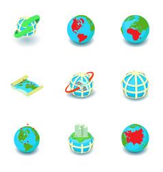 business worldwide icons set isometric style vector image