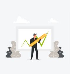 businessman holding pen or pencil and draw growth vector image