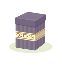 cardboard purple box with cotton small container vector image