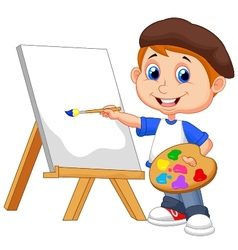 Cartoon boy painting vector image