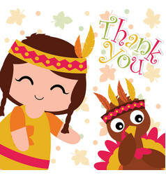 Cartoon with cute indian girl and turkey on maple vector