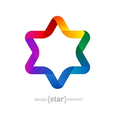Colorful origami david star on white background vector