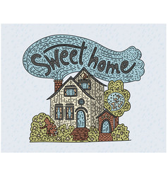 Country doodle detailed cottage sweet home vector