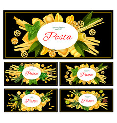 different italian pasta vector image