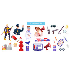 different professions flat vector image