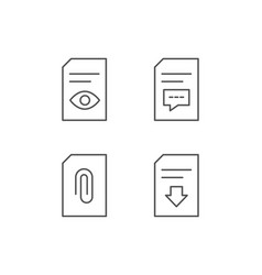 Document comment and download line icons vector