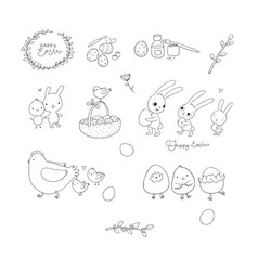 Easter bunnies and chickens eggs and paint cute vector