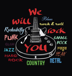 Electric guitar and we will rock you sign vector