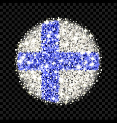finland flag sparkling badge vector image