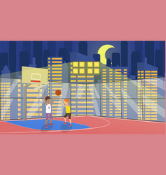 flat school children play in basketball vector image