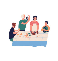 funny relatives cooking and eating fruit together vector image