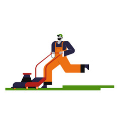 Gardener with lawn mower cutting grass isolated vector