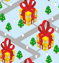 Gift Christmas city seamless pattern Fantastic vector