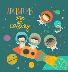 Girls ans boys astronauts riding a rocket vector