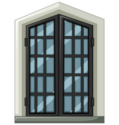 Glass window with gray frame vector