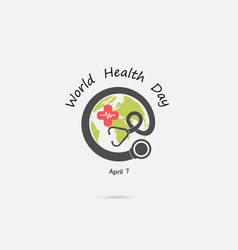 globe sign and stethoscope logo design vector image