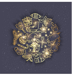 Golden christmas doodles - grey vector